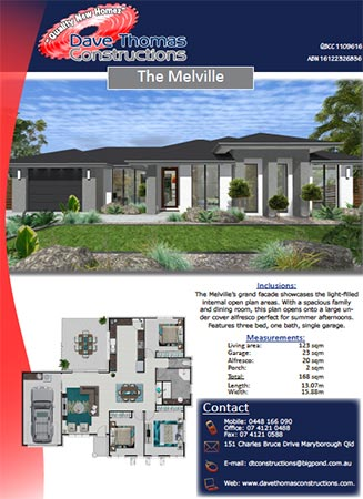 Melville three bedroom house plan